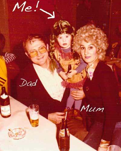 Mum, Dad and Me at a fancy dress party